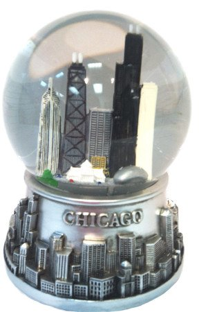 Musical Chicago Snow Globe - Water Globe - Pewter Look - 100mm
