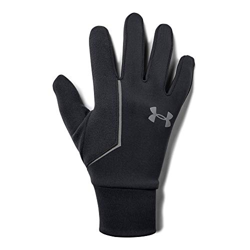 Under Armour Men's Ss Coldgear infared Run Liner Gloves, Black (001)/Silver, Small/Medium