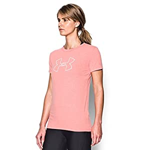 Under Armour Women's Big Logo Short Sleeve T-Shirt, Pomegranate Light Heather/White, Large