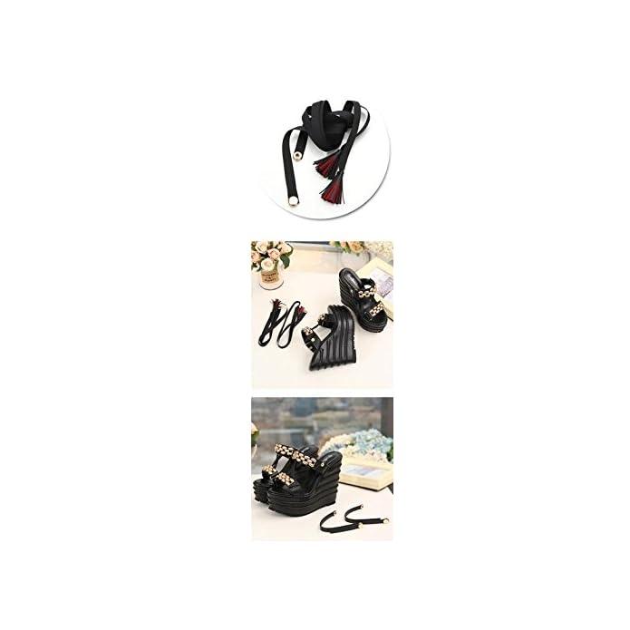 Lvyuan Sandali ufficio carriera Di Estate Delle Donne tacco Ultra Sottile piattaforma Impermeabile tacco Del Cuneo ribattino Dell'inarcamento Della Nappa stile Nazionale Boemo Black Cn33