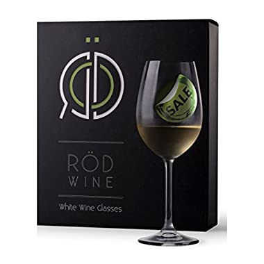 RÖD Wine Unique Gift Glassware Collection Lead Free Crystal White Wine Glasses (12-Ounce, Set of 3)