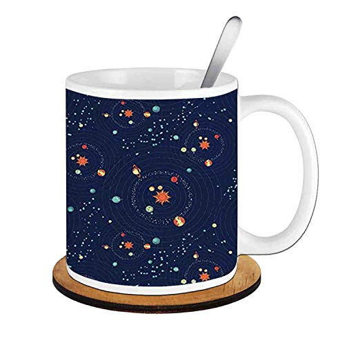 - Solar System Planet Astronomy Cosmos Galaxy Mysterious Universe,Dark Blue Orange Turquoise;Ceramic Cup with Spoon & Round wooden coaster Milk Coffee Tea Mug 11oz gifts for family