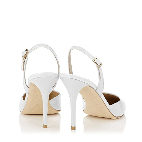 marketable cheap price FSJ Women Pointed Toe Pumps Slingback Stilettos Heels Sandals Ankle Strap Shoes Size 4-15 US White cheap sale 100% guaranteed outlet cheap authentic extremely online cheap sale Cheapest lsxa0p