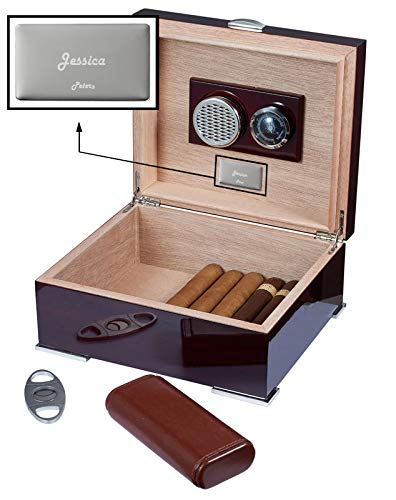 Visol Xander Burgundy Wood Humidor Gift Set with Case and Cutter with Free Laser Engraved Metal Plate (Text) by Visol (Image #5)