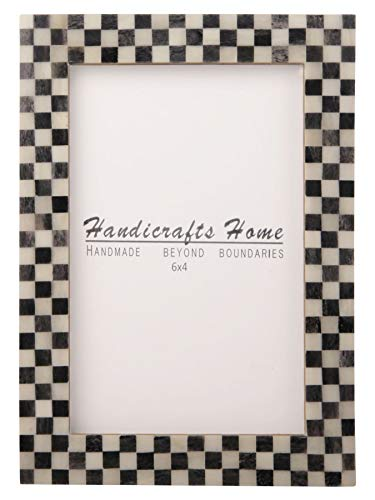 Handicrafts Home Checked Pattern Inspired Picture Frames - Bone Inlay Handmade - Ready to Hang or Sit 4X6