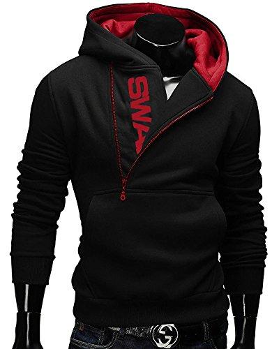 Men Oblique Zipper Sweatshirt Kangaroo Pocket Sports Hoodie Jacket Black, Asian M / US