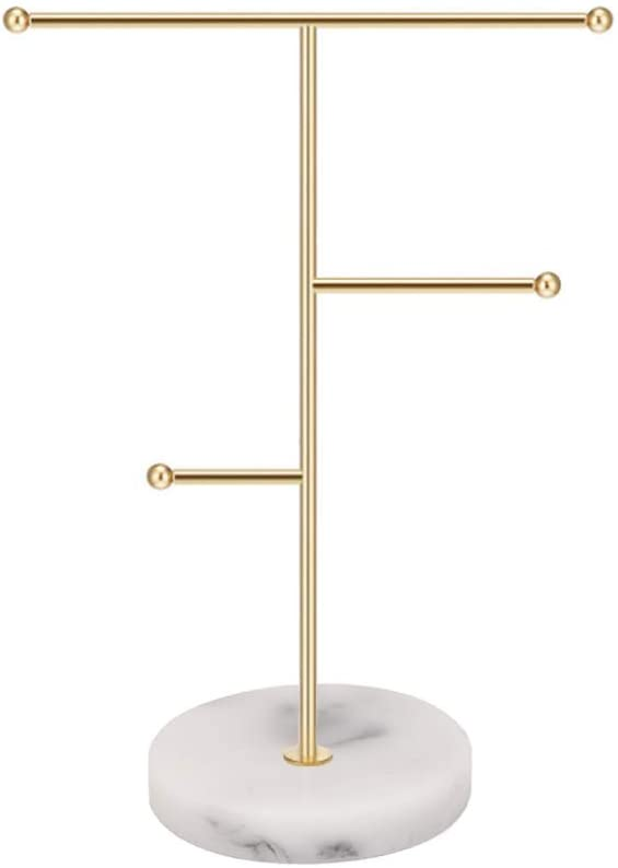 Hileyu Jewelry Stand Display Necklace Holder T-Bar Plated Metal Tabletop Jewelry Organizer Tower for Hanging Pendant Earring Bracelet Rings Accessories (Gold)
