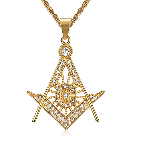Lee Island Fashion 24K Gold Plated CZ Fully Iced-Out Freemason Pendant Stainless Steel Necklace, 24 inch Chain Jewelry