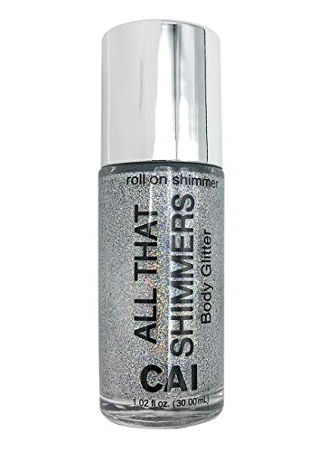Silver Face Makeup (Body Glitter Face Or Hair Roll On Shimmer Holographic Cosmetic Grade Glamour,)