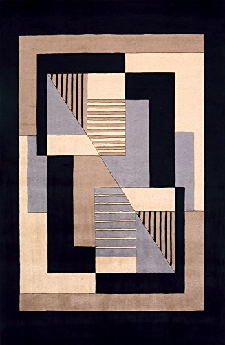 Momeni Rugs NEWWANW-06BLK5380 New Wave Collection, 100% Wool Hand Carved & Tufted Contemporary Area Rug, 5'3