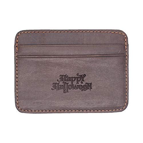 Happy Halloween (Milk Chocolate) Engraved Synthetic Slim Wallet/Card Holder - Handcrafted By Mastercraftsmen - A Perfect Fit For The Minimalist Lifestyle - Sleek, Efficient ()