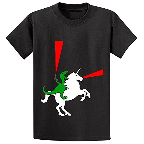Price comparison product image Chas Dinosaur Riding Unicorn With Lasers Unisex Crew Neck Cotton Tees Black