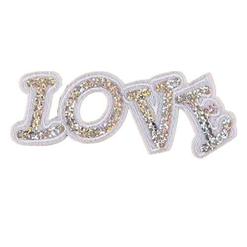 - Ximkee (10 Pack) Love Letter Sequin Embroidering Sew Iron On Applique Patches-White
