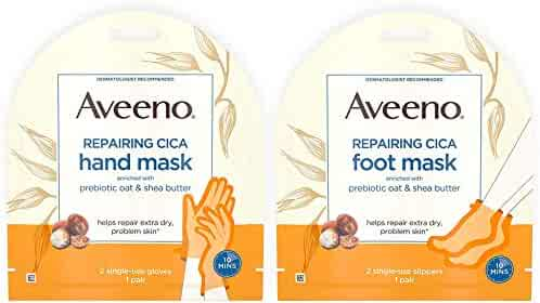 Repairing CICA Foot Mask&Hand Mask with Prebiotic Oat and Shea Butter, for Extra Dry Skin, Paraben-Free and Fragrance-Free, 1 ea