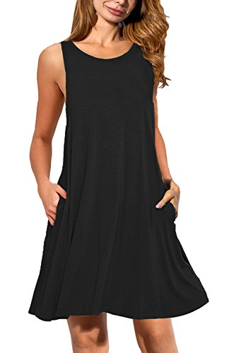 AUSELILY Women's Ladies Long Top Blouse Summer Womens Sleeveless Mini Dress