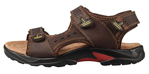 Image of 4HOW Men's Sport Outdoor Sandals Trail Leather Water Sandal Shoes