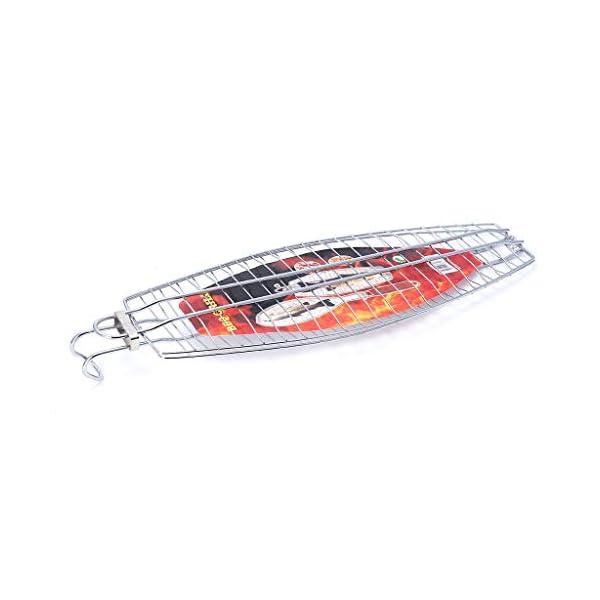 xiuJUNhoho Barbecue Grilling Basket Fish Meat Clip Hangable Grilled Fishes Folder Attrezzi da Picnic per Barbecue 1 spesavip