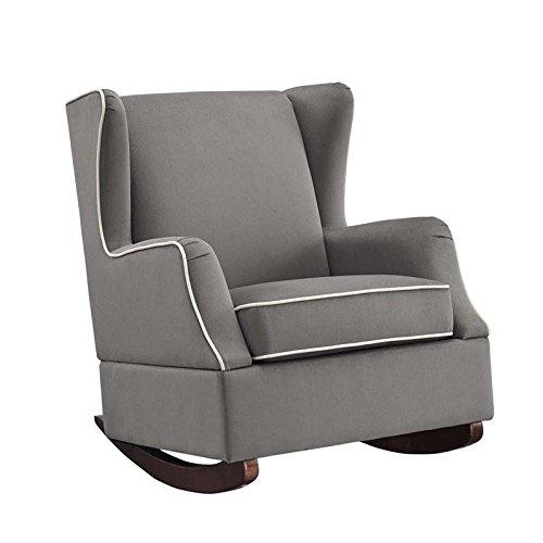 Baby Relax Hudson Upholstered Wingback Nursery Room Rocker, Graphite Gray