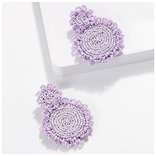 - BEST LADY Statement Drop Earrings for Women - Bohemian Beaded Round Earrings, Idea Gift for Mom, Sister and Friends (Purple)