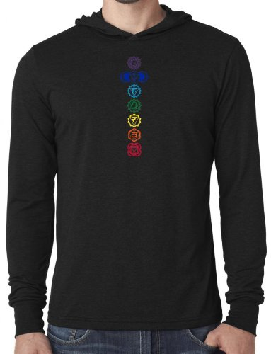 Yoga Clothing For You Mens Colored Chakras Lightweight Hoodie Tee Shirt
