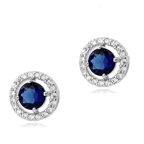 (Round Stud Earrings with Blue Simulated Sapphire Zirconia Crystals 18 ct White Gold Plated for Women)