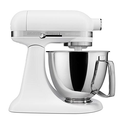 KitchenAid Artisan Mini Premium Tilt-Head Stand Mixer with Flex Edge Beater KSM3316XFW, 3.5 qt, Matte White ()