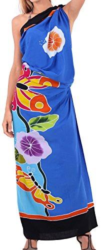 las mujeres para cubrir la piel de rayón suave mano la rama de pintura La leela falda más pareo 78x43 pulgadas Azul Real