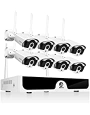 JOOAN 1080P Wireless Security Camera System,JOOAN 8×2MP Full HD Home Surveillance Outdoor WiFi CCTV Cameras with 8 Channel H.265+ NVR & Motion Detection & Email Alarm&Super Night Vision (2019New)