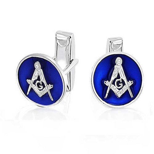 Freemasons Masonic Compass Symbol Round Circle Cufflinks For Men Blue Two Tone Silver Tone Stainless Steel