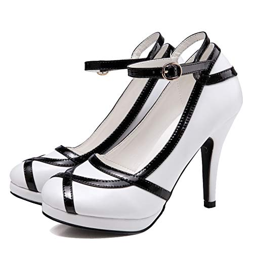getmorebeauty Women's Vintage Retro Two Tones White and Black Buckle Dress High Heels 8 B(M) US