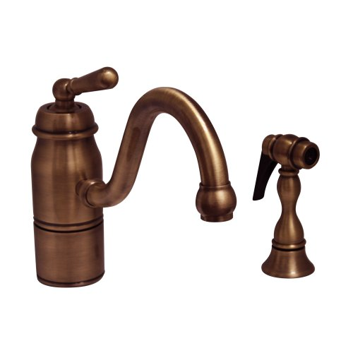 Whitehaus 3-3165-SPR-L-ACO Beluga 9-Inch Single Handle Faucet with Traditional Curved Swivel Spout, Lever Handle and Solid Brass Side Spray, Antique Copper