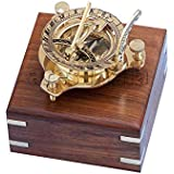 Sports & Outdoors Brass Finish Sundial Compass 3  Shiny finish collectible item