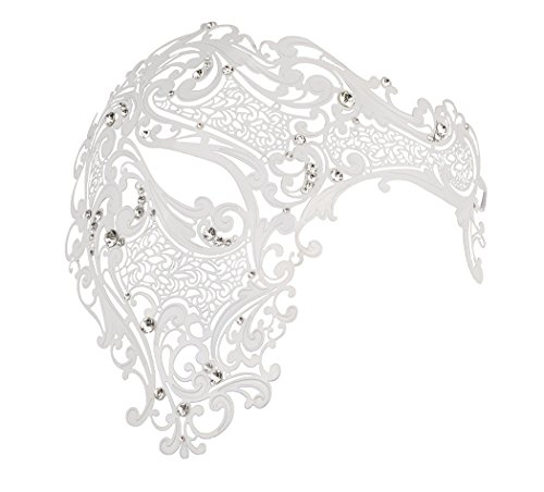 [Half Face Mask Lady Masquerade Halloween Mardi Gras Laser Cut Mask] (Half White Face Costume)