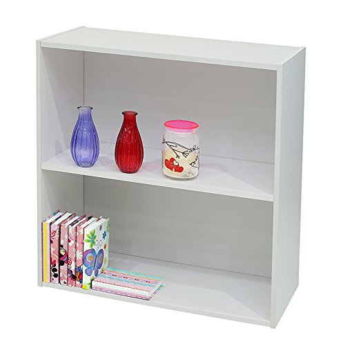 Kings Brand Furniture White Wood 2-Tier Shelf Bookcase Storage (2 Shelf Bookcase)