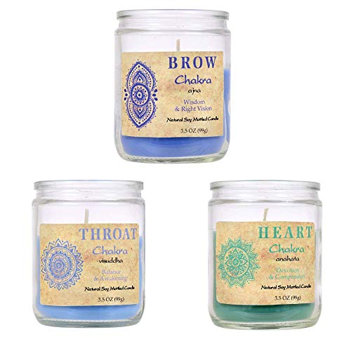Soy Blend Chakra Votive Candle Trio: Brow for Wisdom & Right Vision, Heart for Devotion & Compassion, Throat for Balance and Awakening