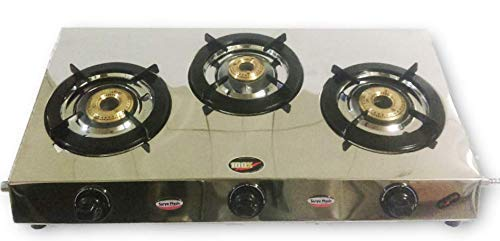 Stainless Steel Three 3 Brass Burner Gas Stove COOKTOP LPG Simple (Best 3 Burner Gas Stove In India)