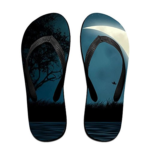 Unisex Moon And River Summer Strap Chanclas Beach Slippers Plataformas Sandalias Para Hombres Mujeres Negro