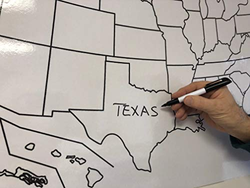 Copy King Blank Us Map Laminated Dry Erase Poster Reusable United
