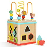 Activity Cube Toys Baby Educational Wooden Bead Maze Shape Sorter for 1-Year Old
