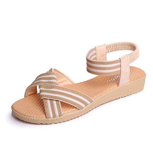 Elevin (tm) Kvinners Sommeren Mote Blomster / Bind / Stripete Bohemia Peep-toe Flat Flip Flop Sandal Sko Beige