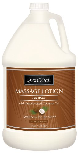Bon Vital Coconut Massage Lotion Made with 100% Pure Fractionated Coconut Oil, Lightweight Massage Lotion, Provides a More Relaxing Massage, with Intense Skin Hydrating and Moisturizing, 1 Gal Bottle ()