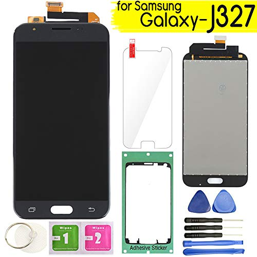 Samsung Galaxy J327 LCD Display Screen Replacement Touch Digitizer Assembly for J3 2017 Prime/Emerge J327 J327A J327V J327P J327T1 J327R4 with Repair Tools & Screen Protector (Black)