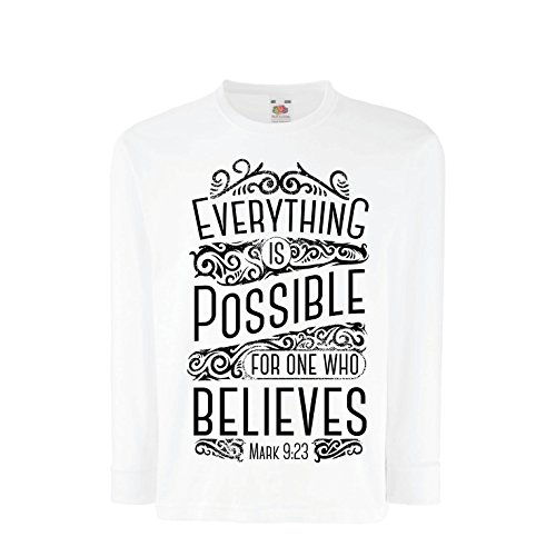 Price comparison product image Kids Boys/Girls T-Shirt Jesus Christ: Everything is Possible for One Who Believes - Christian Religion Faith Bible - Easter - Resurrection (14-15 Years White Multi Color)