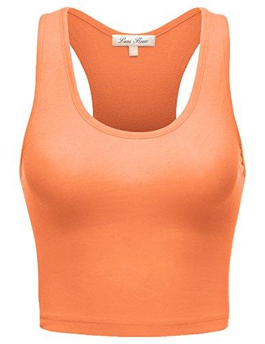 Luna Flower Basic Stretch Sleeveless Racerback Crop Short Tank Tops  017-Neon Orange US M