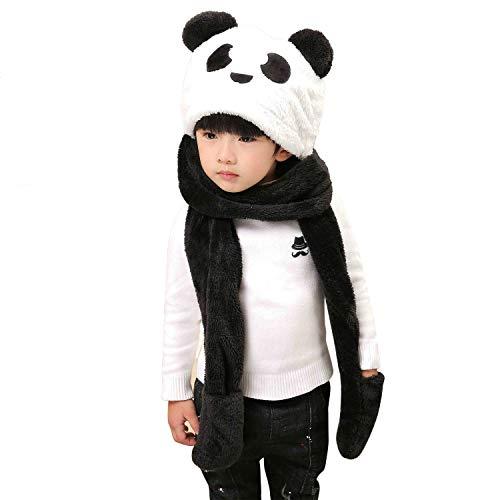 ITODA 3 in 1 Kids Hat Gloves Scarf Set, Thick Winter Warmer Pocket Mitten Headscarf Ear Cuff Costume Cap Toddler Long Fleece Snowboarding Hoodie ()
