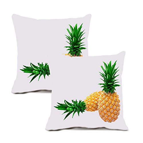 Pineapple Pillow Cover By Vroselv: Soft Throw Cushion Cover Case With Delicious Pineapple Fruit And Whit Background – Pack Of 2 Washable Square Pillow Cases 18x18 Inches Large - Made Of 90% Cotton