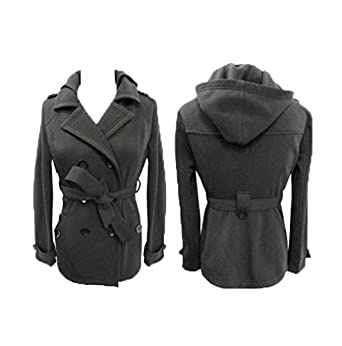f88a8e8f5 Yoki Womens Fleece Plus Size Double Breasted Jacket with Hood Charcoal