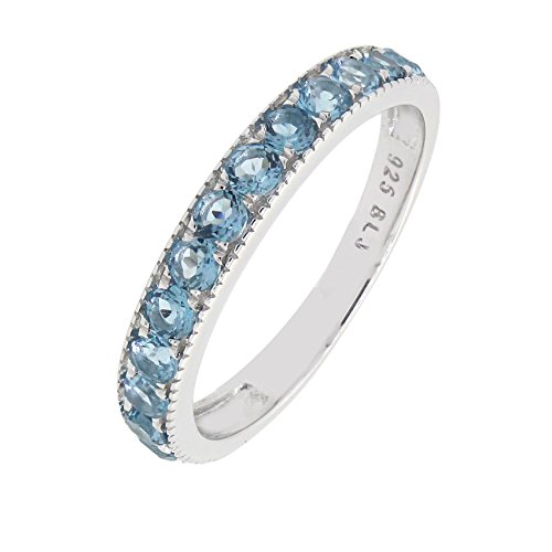 Sterling Silver Round Genuine London Blue Topaz Stackable Half Eternity Band Ring (1.12 CT.T.W) (Gemstone Stackable Ring)