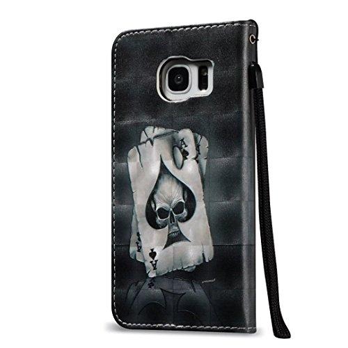 Samsung Galaxy S7 Edge Funda Cuero de la PU Correa de Cuello Relieve Billetera Carcasa, Vandot Magnético Folio Flip Caso Con titular de la tarjeta, Elegante Funda Tipo Libro [Embossed Flor de Mariposa FDQC 01