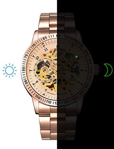 IK Men Automatic Watch, Men's Business Analog Auto Self Wind Mechanical Steampunk Watch (Rose Gold)